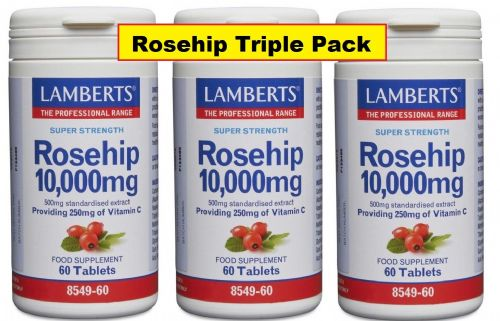 Rosehip 10000mg (Rich in Vit C) - triple pack - 60sx3=180 - 1 a day 6mth  Rsp £11.99 each